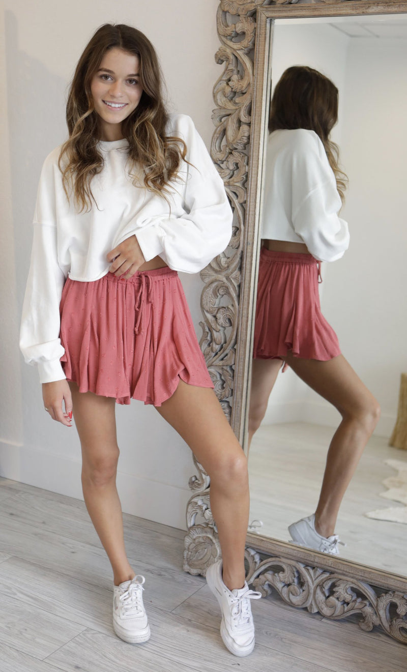 EYELET SWING SHORTS - BLACK & MAUVE - RETAIL STORE