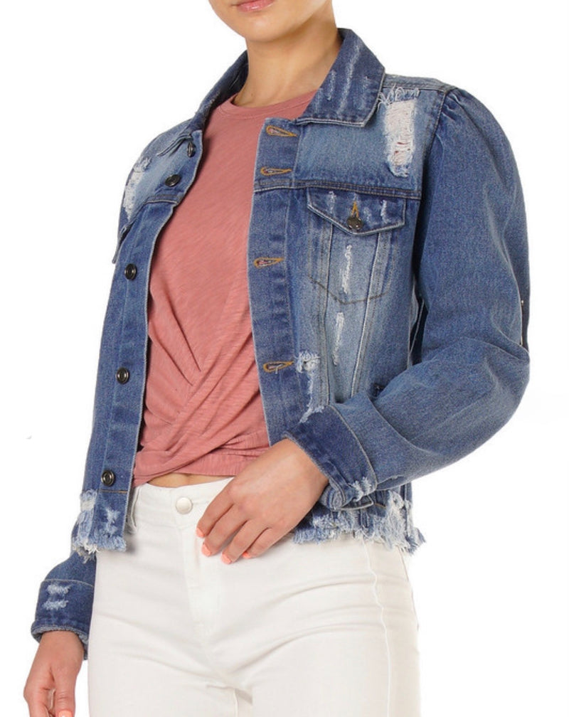 ELAN - PUFF SHLDR JACKET -DENIM - RETAIL STORE