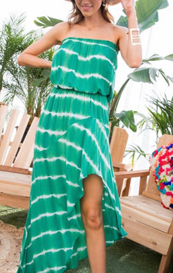 TUBE TOP MAXI DRESS - STRIPED TIE DYE GREEN - RETAIL STORE