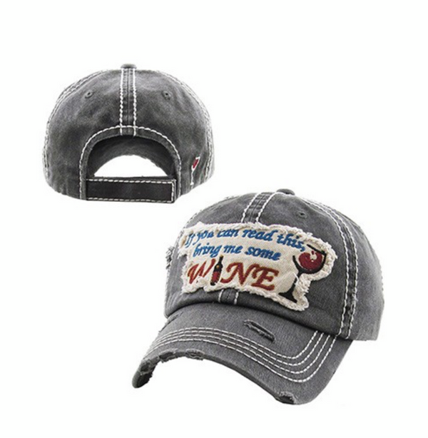 """BRING ME SOME WINE"" BASEBALL CAP - RETAIL STORE"