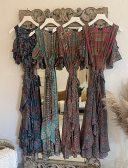 BOHO COLD SHOULDER WRAP DRESS - MIXED PRINTS - RETAIL STORE