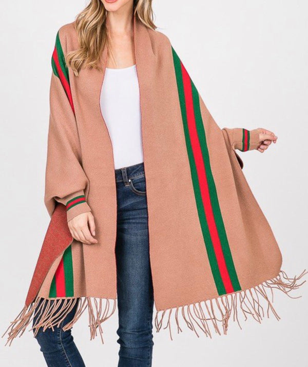 FRINGE PONCHO WITH STRIPE DETAIL - TAUPE, BLACK, CREAM & GRAY - RETAIL STORE