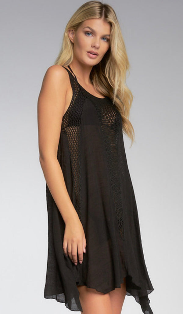 CROCHET TANK DRESS COVER-UP - BLACK