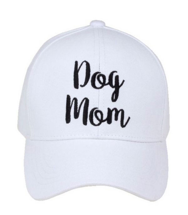 DOG MOM BASEBALL CAP- BLACK, WHITE & BEIGE - RETAIL STORE