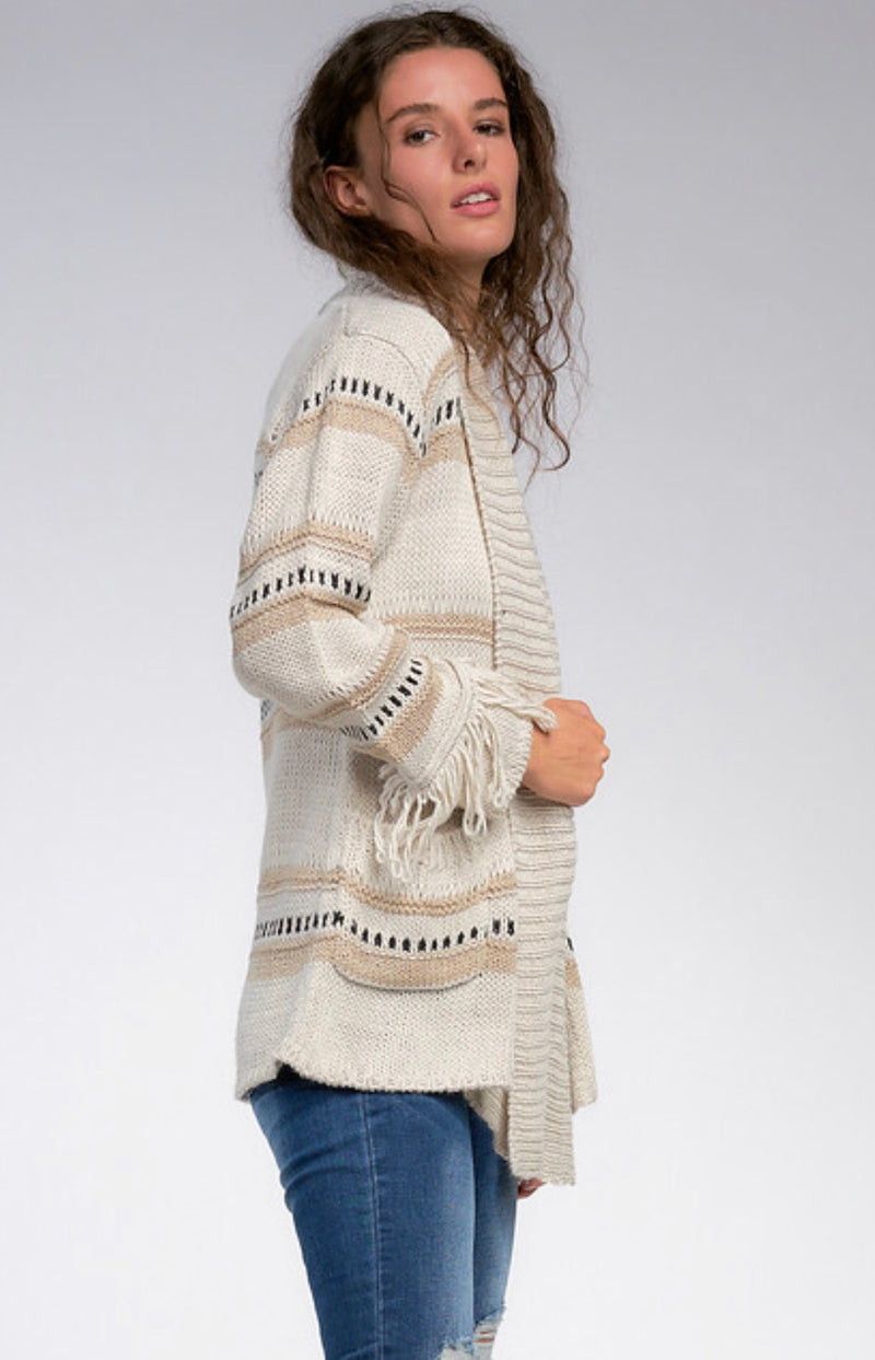 OPEN FRONT DRAPE CARDIGAN WITH FRINGE CUFFS - OATMEAL - RETAIL STORE