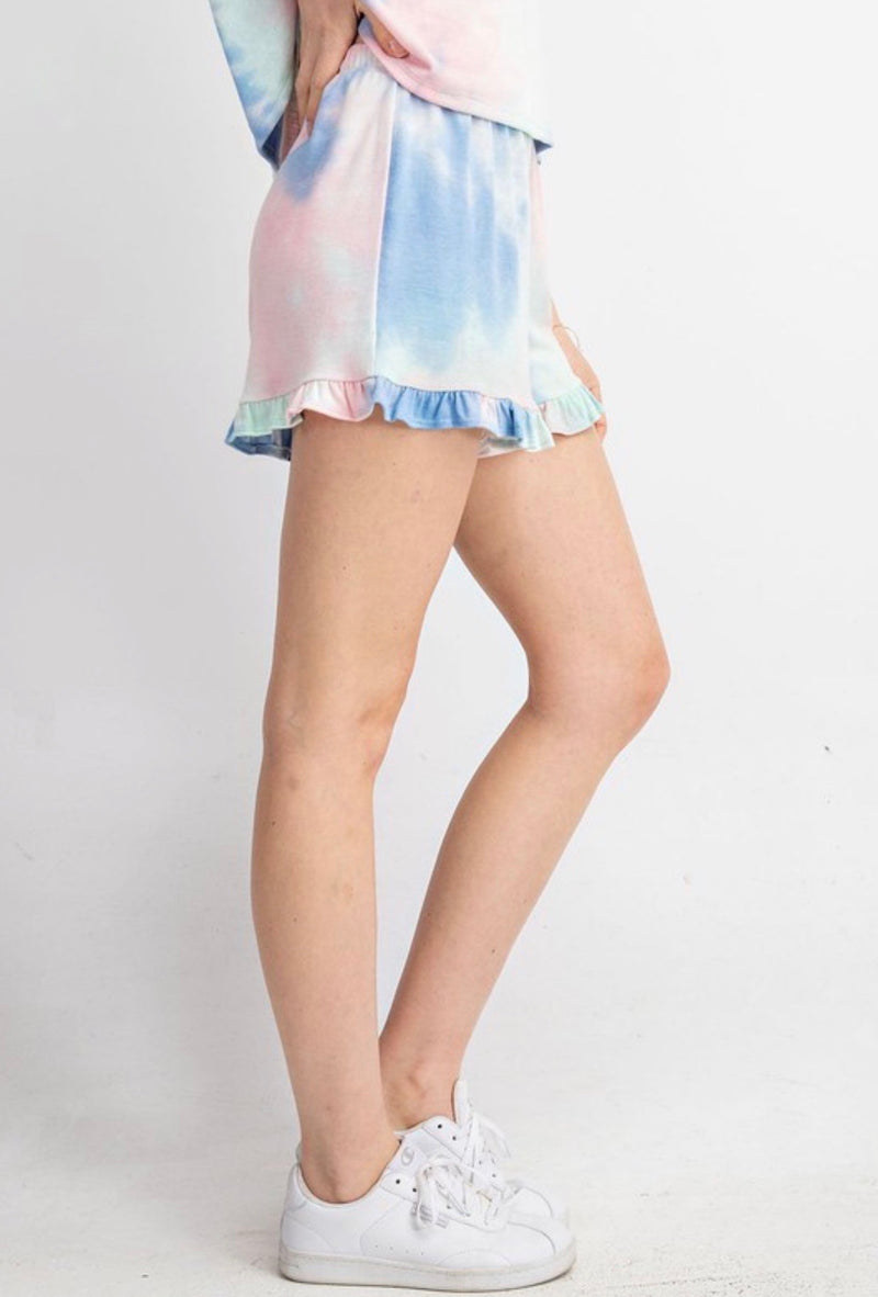 TIE DYE LOUNGE SHORTS- AVAILABLE IN PINK DENIM & PEACH CORAL - RETAIL STORE