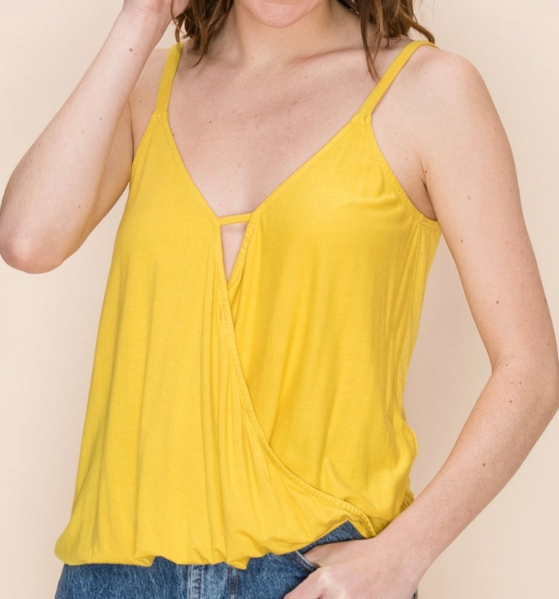 OVERLAP KNIT TANK AVAILABLE IN GREEN, BLACK, CORAL RED AND YELLOW - RETAIL STORE