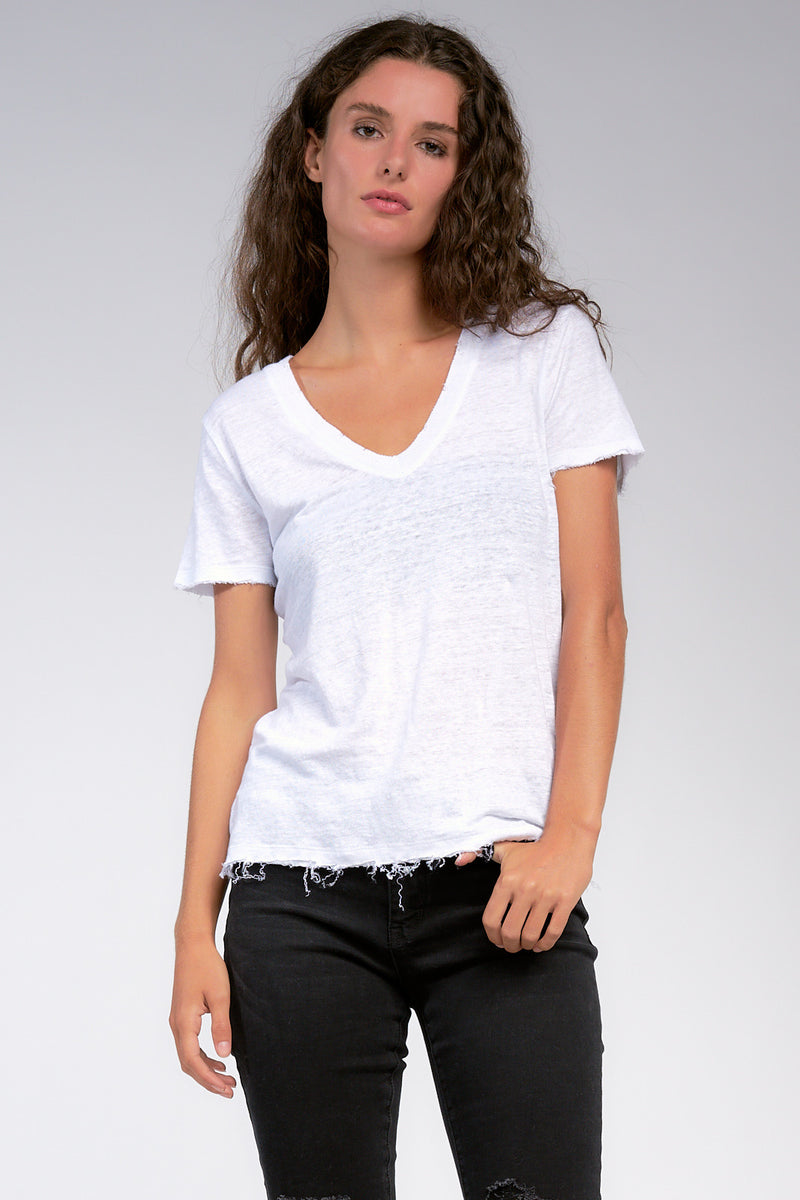 SHORT SLEEVE V-NECK TOP WITH RIPS- OLIVE, WHITE AND BLACK - RETAIL STORE