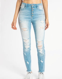 HIGH RISE BUTTON DOWN ANKLE SKINNY - LIGHT DENIM