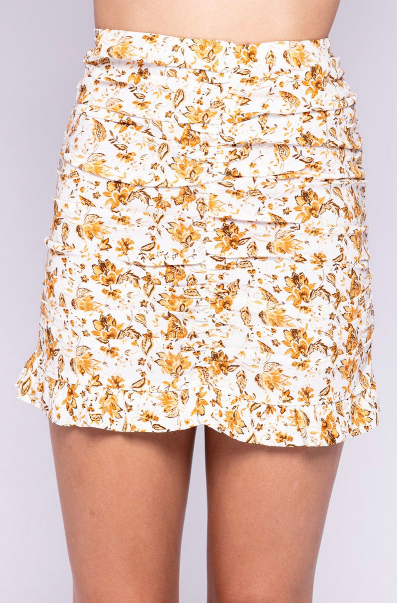 FLORAL PRINT RUCHED MINI SKIRT - WHITE/FLORAL - SKIRT ONLY - RETAIL STORE