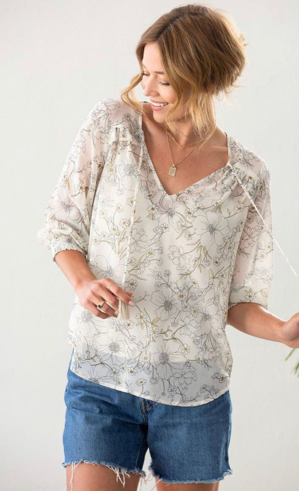 SWEET SURRENDER SMOCKED LONG SLEEVE TOP - NATURAL SAND