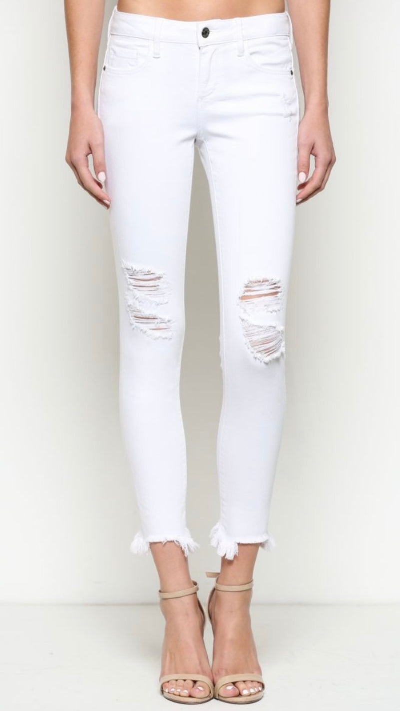 DISTRESSED MID-RISE CROPPED SKINNY JEAN - WHITE - RETAIL STORE