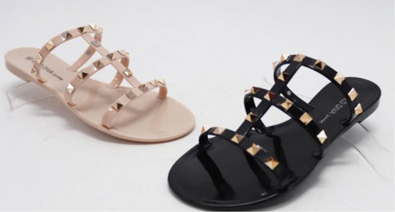 STUDDED  JELLY SANDALS - BLACK & NUDE - RETAIL STORE
