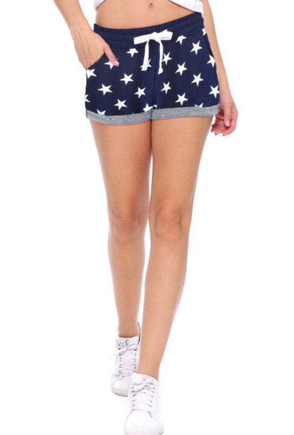 TERRY STAR PRINT SHORTS - BLACK, NAVY AND RED - RETAIL STORE