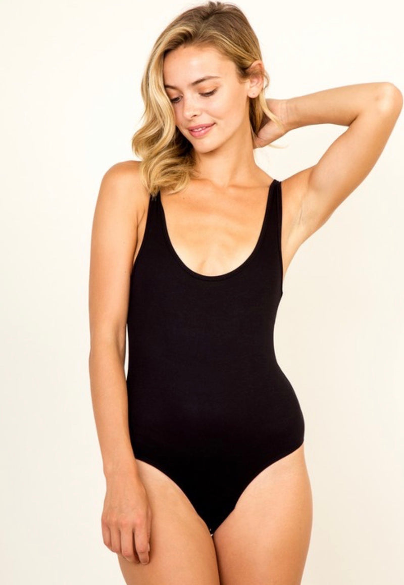RIBBED BODYSUIT - BLACK- RETAIL STORE