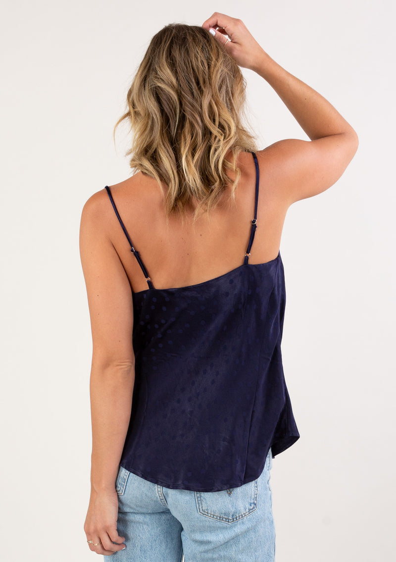 COWL NECK POLKA DOT CAMI - BLUSH, NAVY AND IVORY - RETAIL STORE