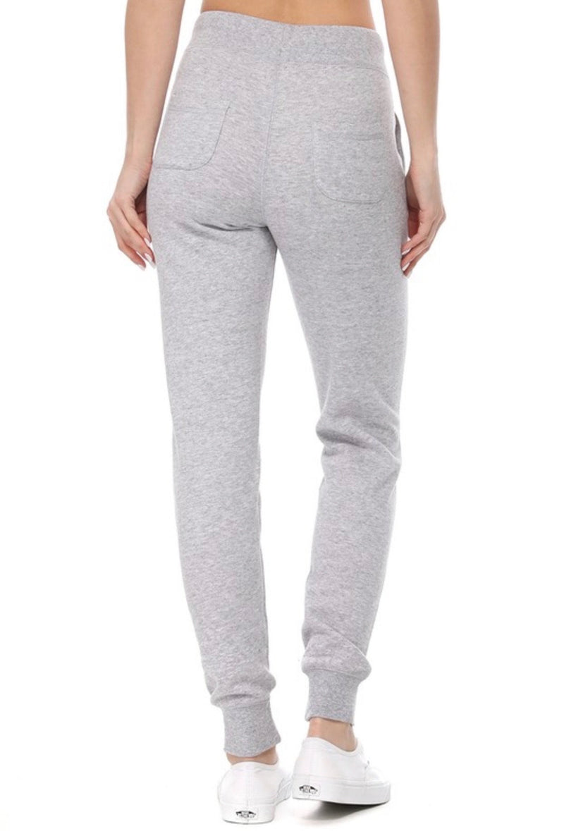 JOGGERS-DRAWSTRING WAIST - AVAILABLE IN HEATHER GRAY,  OATMEAL , BUTTER YELLOW AND WHITE - RETAIL STORE