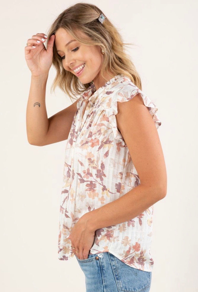 PRINTED RUFFLE SLEEVE BUTTON UP TOP WITH TIES - PEACH/IVORY - RETAIL STORE