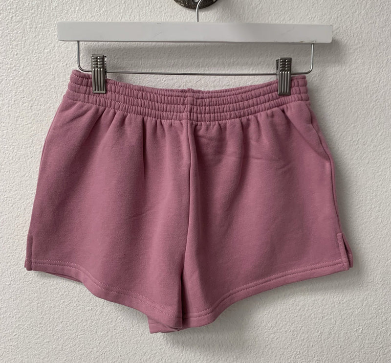 FRENCH TERRY ELASTIC WAIST SHORTS - HEATHER GREY, ORCHID, SKY - RETAIL STORE
