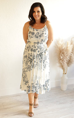 IN BLOOM FLORAL MIDI DRESS - BLUE/IVORY