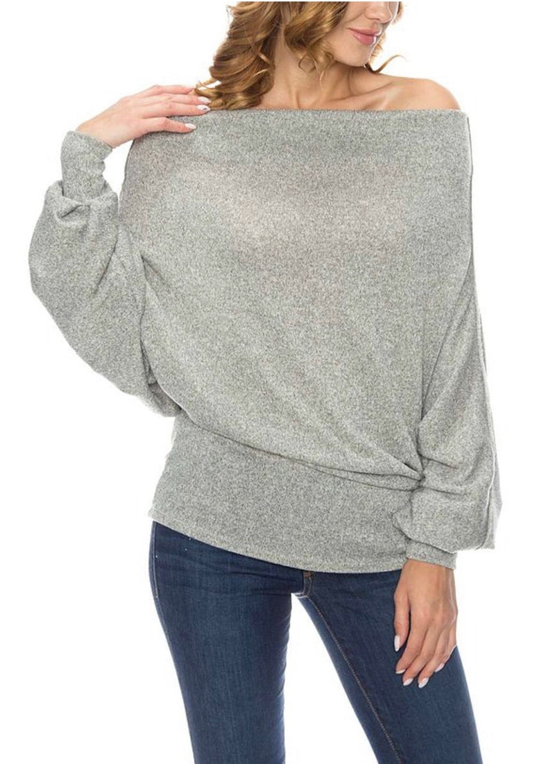 SMOCK COWL NECK DORMAN KNIT TOP - GREY - RETAIL STORE