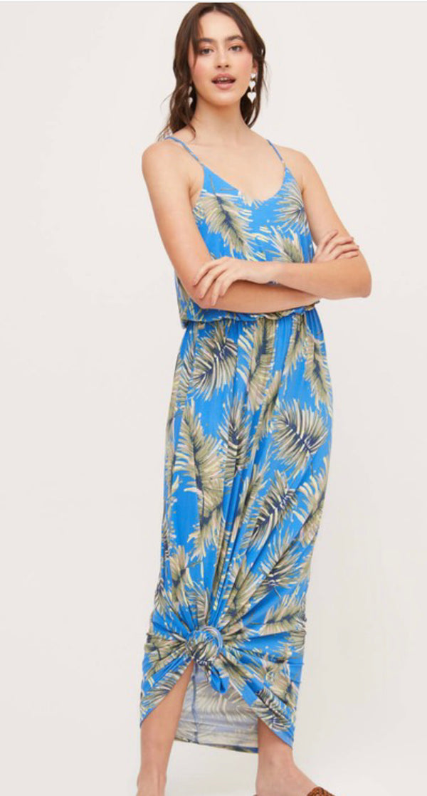 TROPICAL PALM PRINT MAXI TANK DRESS - BLUE/GREEN