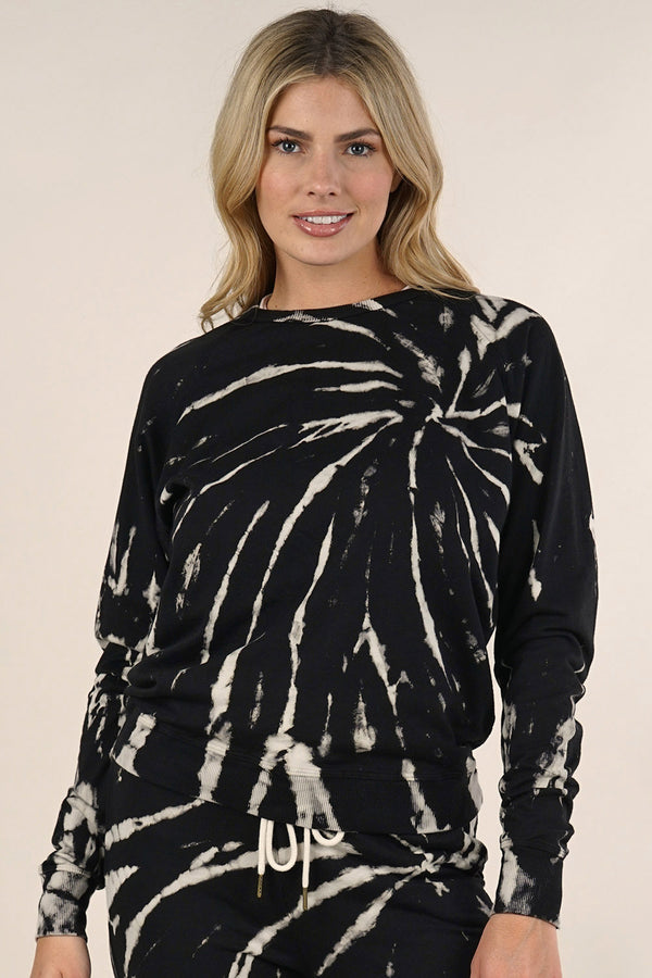 TIE DYE SWEATSHIRT - BLACK/NATURAL - RETAIL STORE