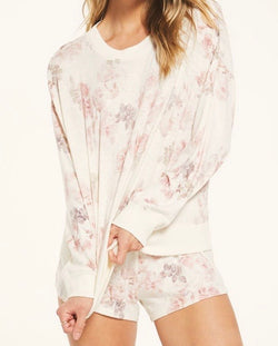 Z SUPPLY ELLE FLORAL LONG SLEEVE TOP - BONE - RETAIL STORE