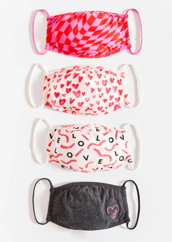 Z SUPPLY LOVE IN THE AIR VALENTINE'S 4 PACK FACE MASK - RETAIL STORE