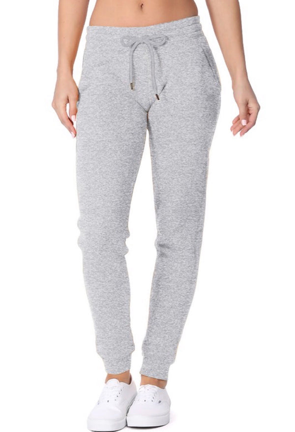 FLEECE JOGGERS WITH POCKETS- LIGHT HEATHER GREY- RETAIL STORE