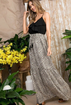 LEOPARD SKIRT RUFFLE TOP MAXI DRESS - RETAIL STORE