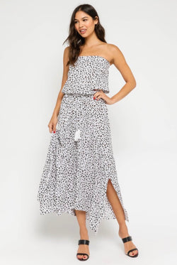 STRAPLESS MAXI DRESS - WHITE AND BLACK - RETAIL STORE