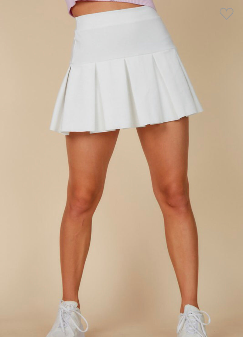 PLEATED TENNIS SKIRT - BLACK & IVORY - RETAIL STORE
