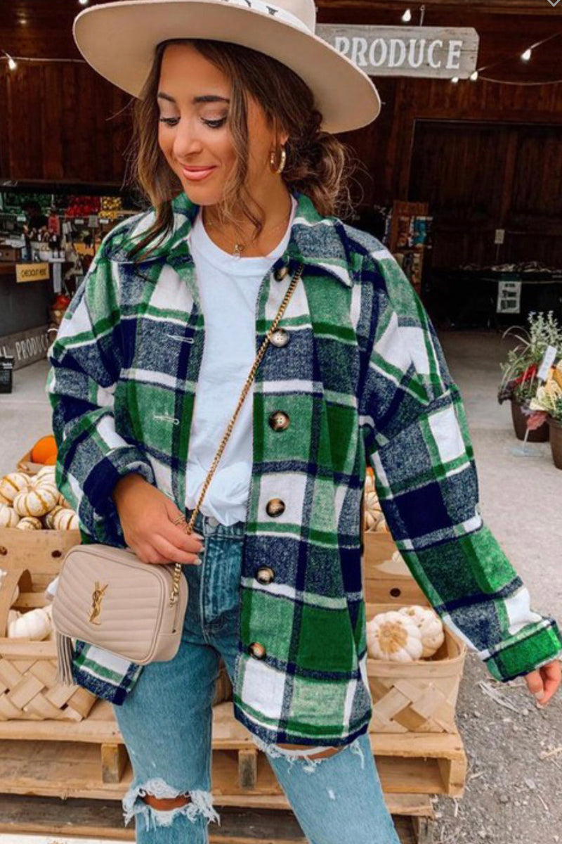 FLANNEL PLAID SHIRT - GREEN/WHITE - RETAIL STORE