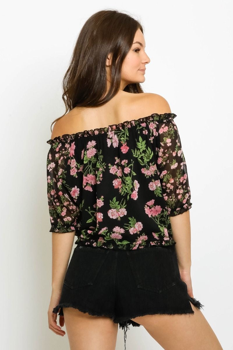 OFF THE SHOULDER CROPPED BLOUSE - BLACK/PINK FLORAL - RETAIL STORE