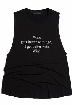 """WINE GETS BETTER WITH AGE"" TANK - BLACK - RETAIL STORE"