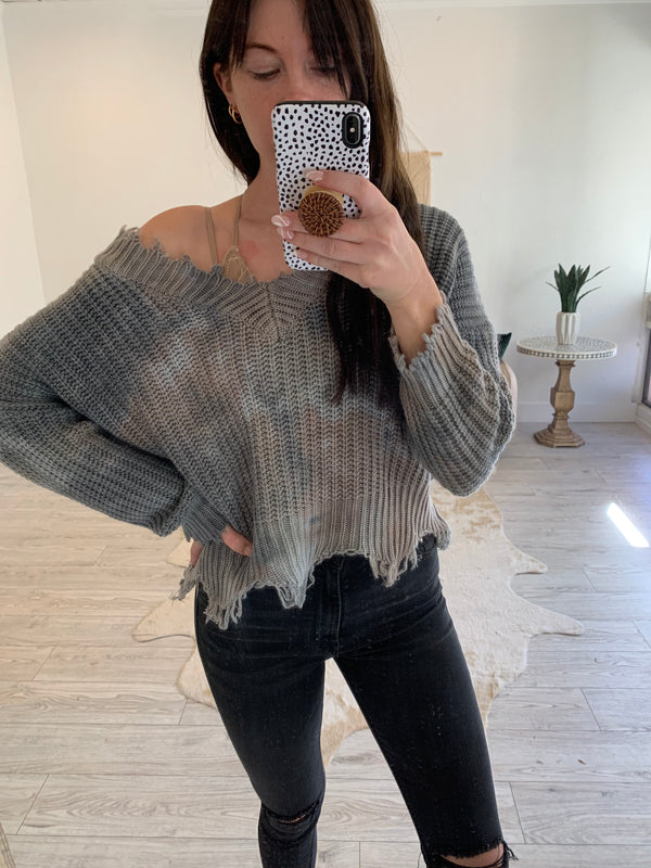 FRAYED V-NECK OVERSIZED TIE DYE SWEATER - CHARCOAL -RETAIL STORE