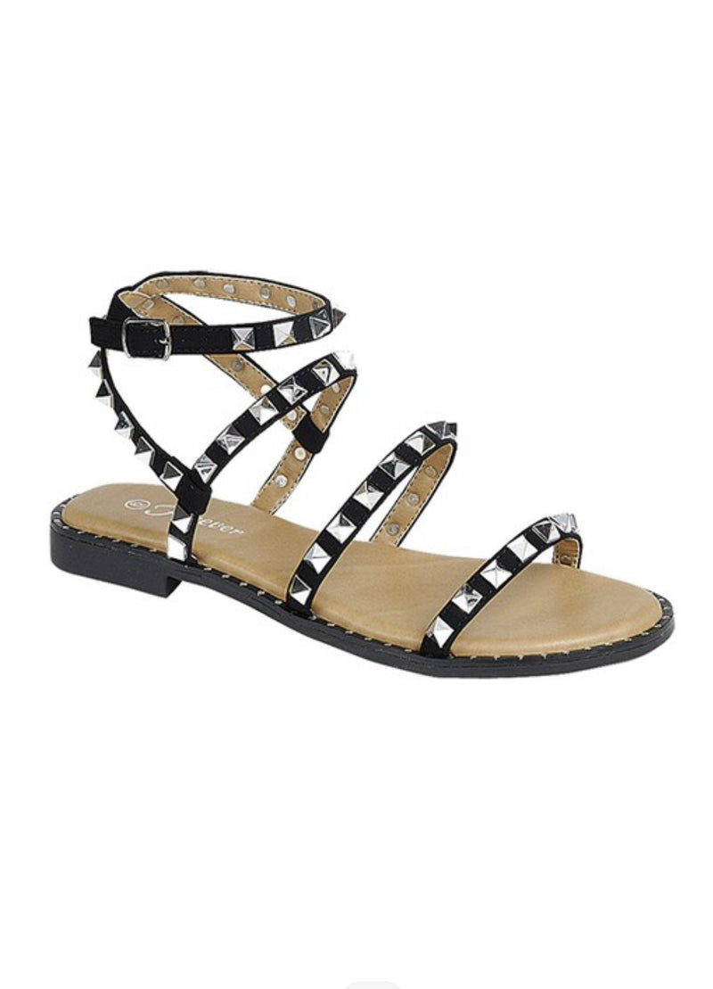 STUDDED MULTI STRAP SANDALS - CLEAR, BLACK & TAUPE - RETAIL STORE
