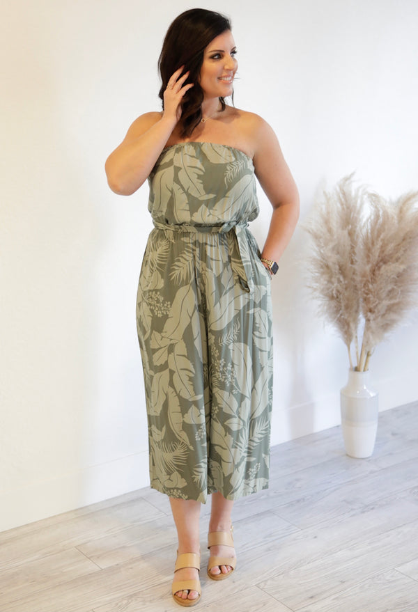 TROPICAL SLEEVELESS JUMPSUIT - SAGE/OLIVE - RETAIL STORE