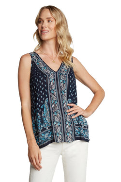 V- NECK SLEEVELESS BLOUSE - NAVY - RETAIL STORE