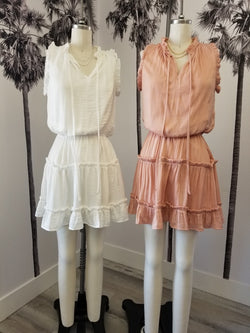 SLEEVELESS RUFFLE DRESS - BLUSH & WHITE - RETAIL STORE
