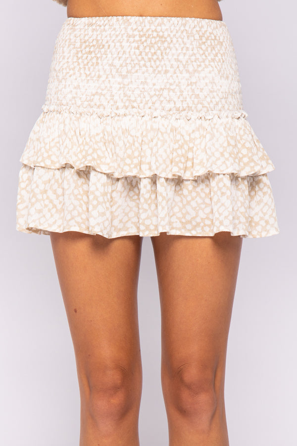 SMOCKED TIERED RUFFLE SKIRT- BLEACHED SAND & GRAPE COMPOTE - RETAIL STORE