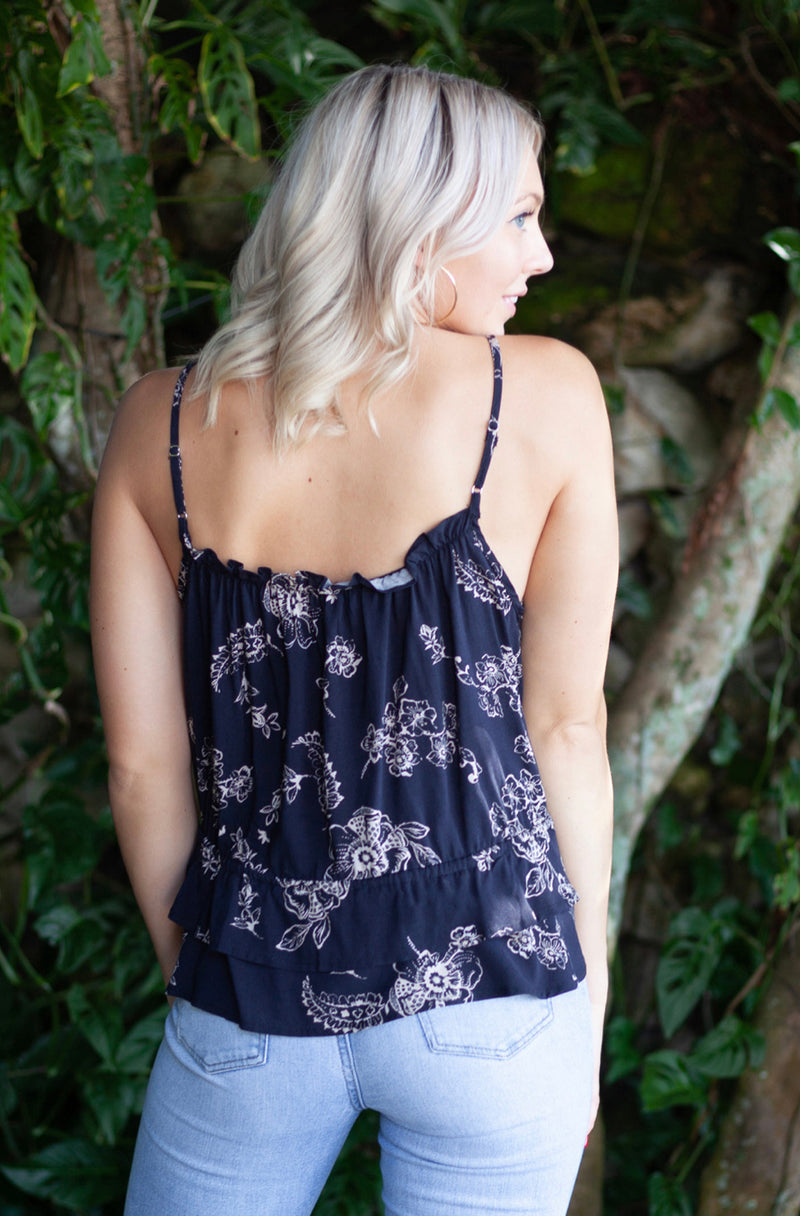 FLORAL PRINT RUFFLE TRIM CAMI - MIDNIGHT RUST - RETAIL STORE