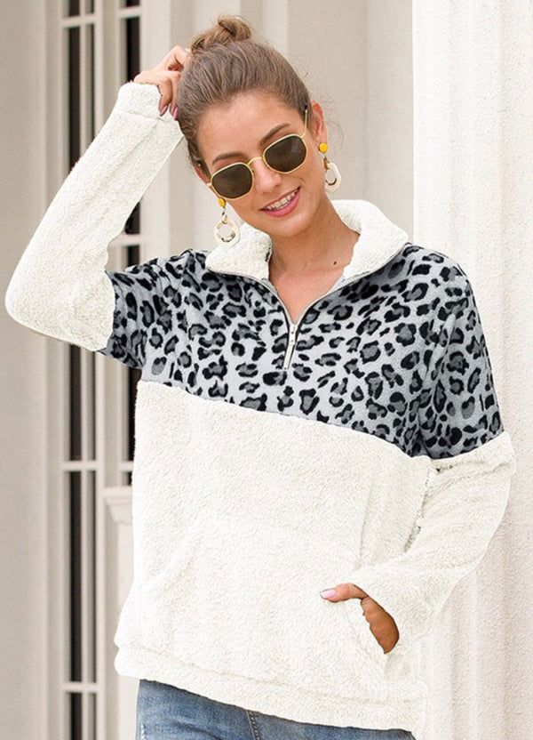 COZY FAUX FUR COLOR BLOCK 3/4 ZIP PULLOVER - WHITE/GREY LEOPARD AND IVORY/TAN LEOPARD - RETAIL STORE