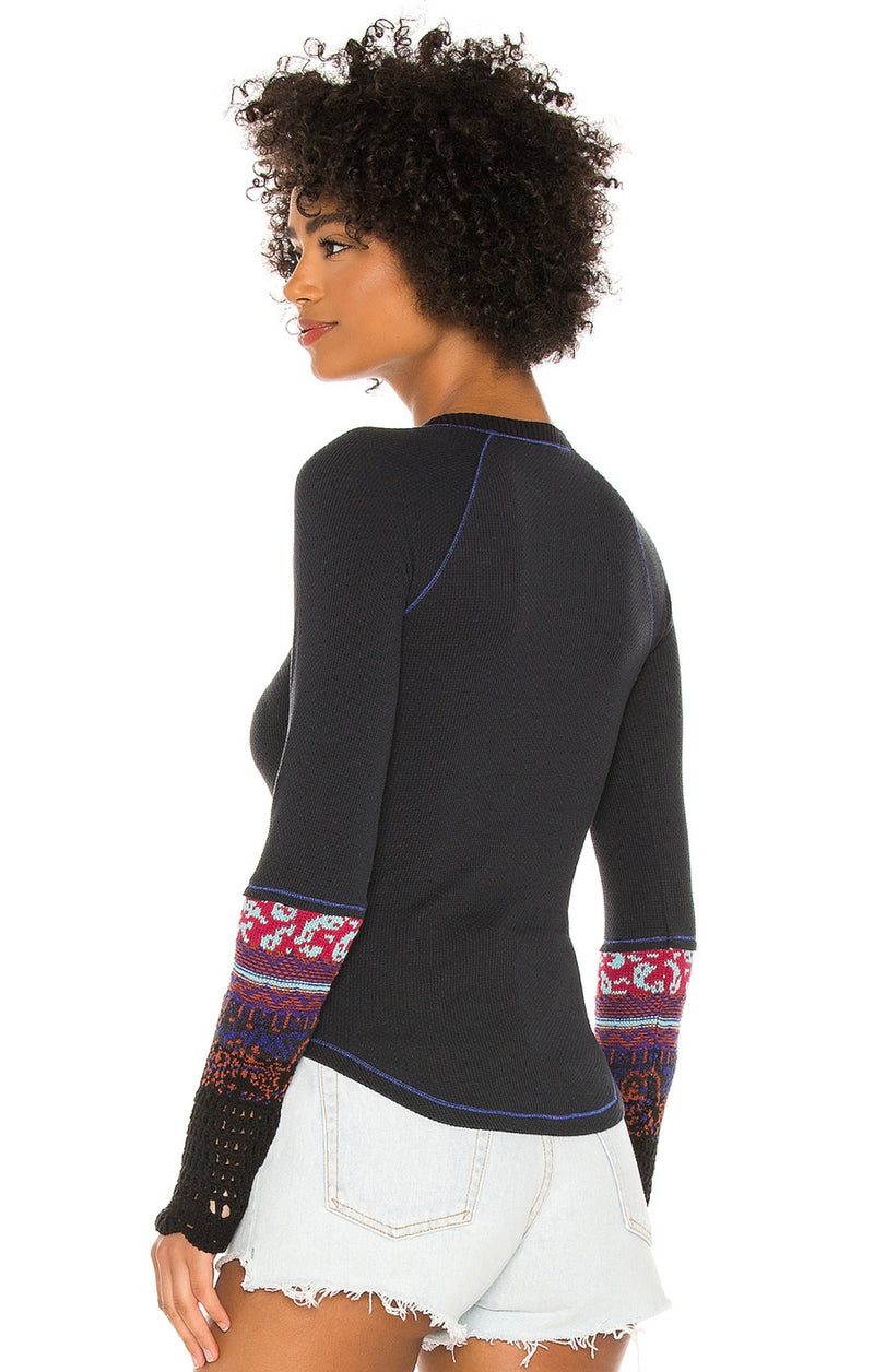FREE PEOPLE IN THE MIX TOP - BLACK COMBO & HEATHER GREY  - RETAIL STORE