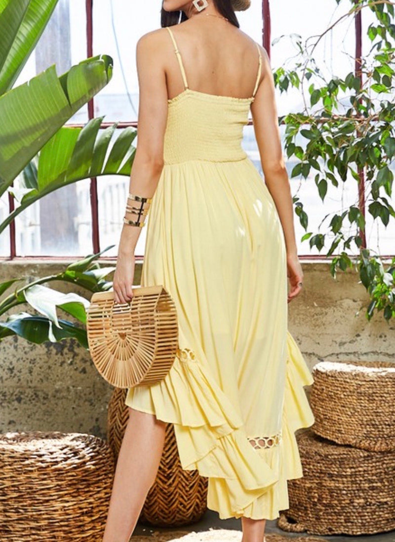HIGH LOW SUNDRESS- AVAILABLE IN BLACK, WHITE AND LEMON - RETAIL STORE