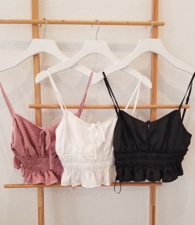 RUFFLE CROP TOP - BLACK, IVORY, PINK AND CHAMBRAY - RETAIL STORE