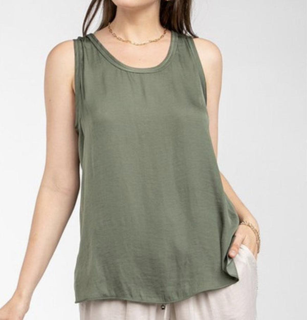 SCOOP NECK TANK TOP - LAUREL & MAHOGANY