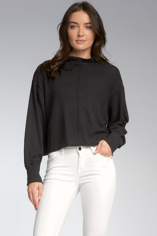 MOCK NECK REVERSE SEAM SWEATER - BLACK - RETAIL STORE