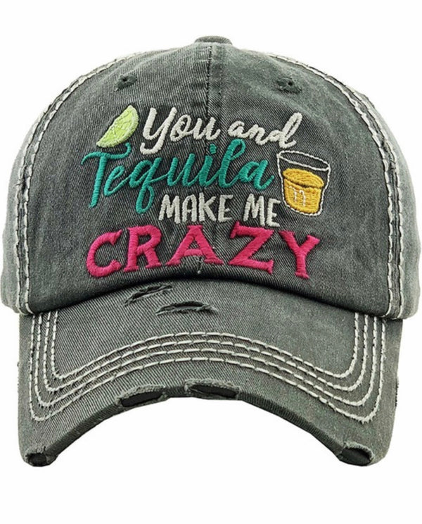 YOU AND TEQUILA MAKE ME CRAZY BASEBALL CAP - BLACK, MOSS & STONE - RETAIL STORE